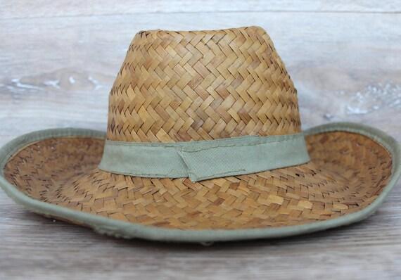 Vintage straw hat men Straw beach hat Natural str… - image 5