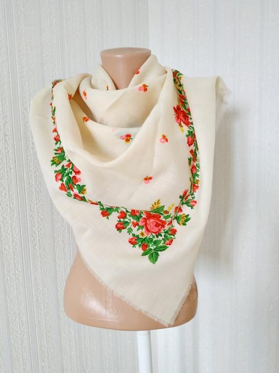 Russian Vintage Shawl Floral Print Soviet Boho