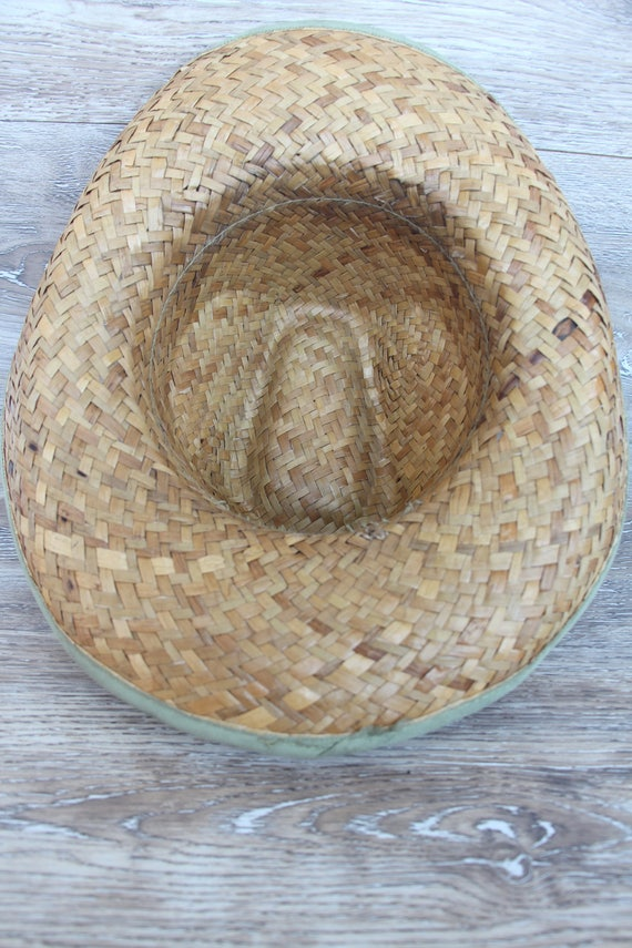 Vintage straw hat men Straw beach hat Natural str… - image 7