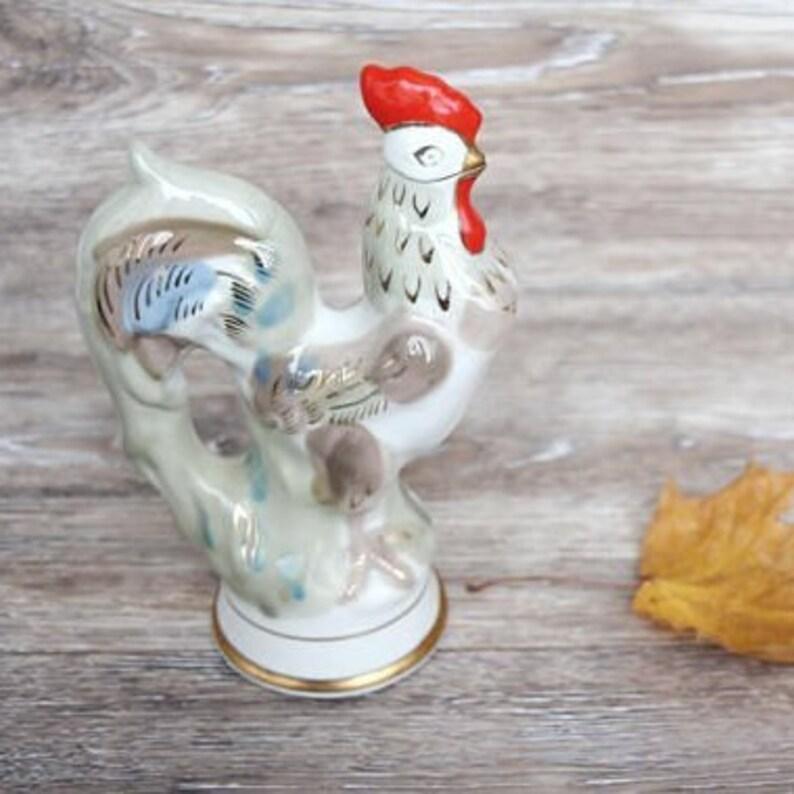 e03397fc0 Liquor decanter with cork Vintage pitcher Decanter bottle Whiskey decanter  Soviet porcelain Rooster figurine Easter gift ideas