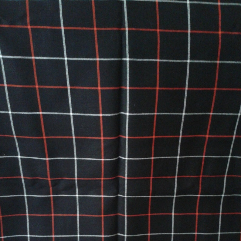 Red Strips Fabric Soviet Vintage Checkered Black With White Etsy