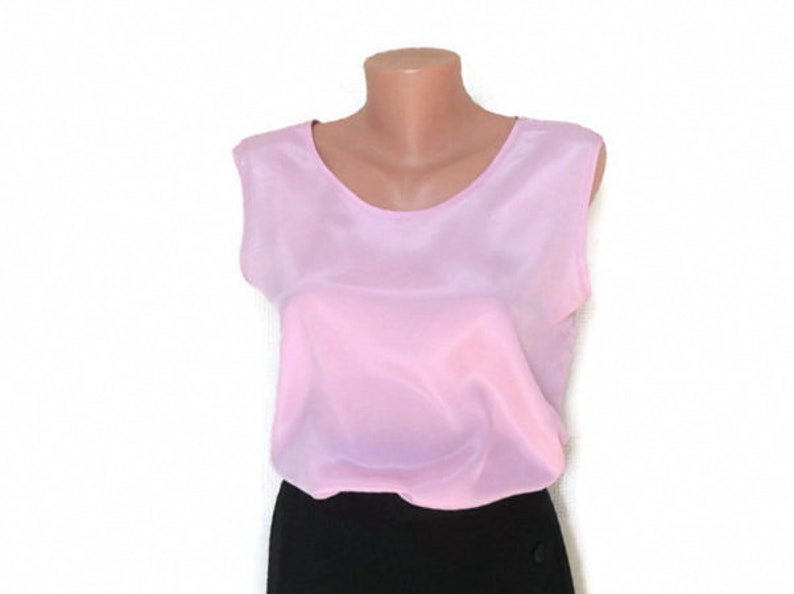 Womens blouse from poly blend Ladies pink vintage tank top 90s. Pink blouse round neck sleeveless cutout size L