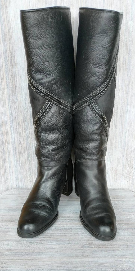 Knee high boots Leather black tall boots Vintage b