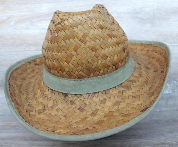 Vintage straw hat men Straw beach hat Natural str… - image 2