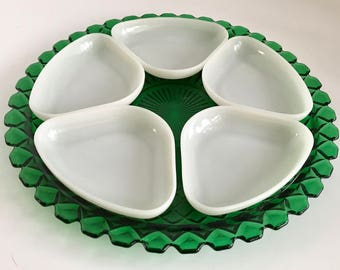 Vintage Anchor Hocking Waterford/Waffle Forest Green Relish Tray with White Glass Trays