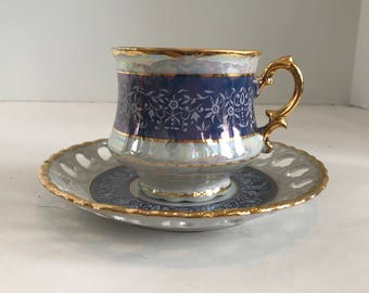 Vintage Seyei Fine China Blue and Gold Lusterware Tea Cup and Saucer