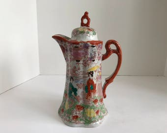 Vintage Nippon Japan Porcelain Chocolate Coffee Pot with Geishas in the Garden