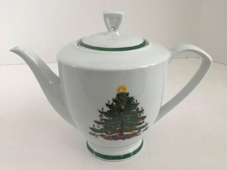 Vintage ST Porcelain 5 Cup White Christmas Tree Teapot