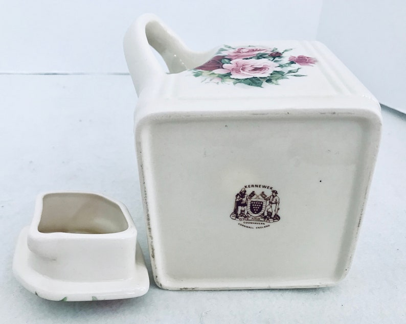 Kernewek White Square 3 Cup Teapot With Purple /& Pink Roses