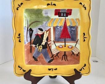 """Cerified International Jennifer Brinley 11 1/2"""" Square Cafe Serving Platter"""