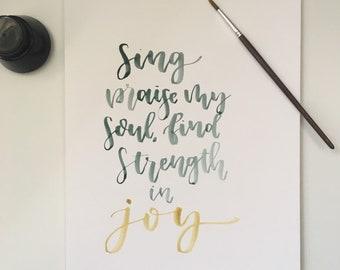 Strenghth In Joy Lyric Print