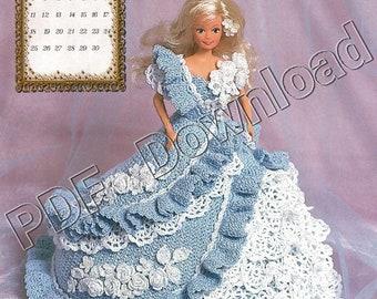CROCHET KNITTING PATTERN Barbie Fashion doll Bridal gown princess ballgown 1005