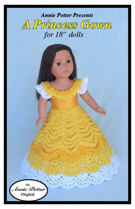 Crochet Doll Dress Pattern A Princess Gown Pdf Etsy