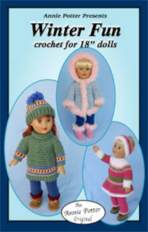 Crochet Doll Clothes Pattern Winter Fun Pdf Etsy