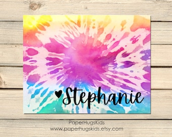Colorful Rainbow Tie Dye Personalized Stationery Note Cards for Kids Set of 10