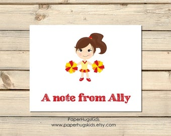 PRINTABLE Cheer stationery, Cheerleading Note Cards, Kids Thank You Cards, Personalized Stationery, Note Cards, Cheerleader / Digital File