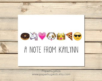 PRINTABLE Emoji stationery, Emoji Note Cards, Kids Thank You Cards, Personalized Stationery, Emoji Cards, Emoji Thank You, Emoji Gift Kids