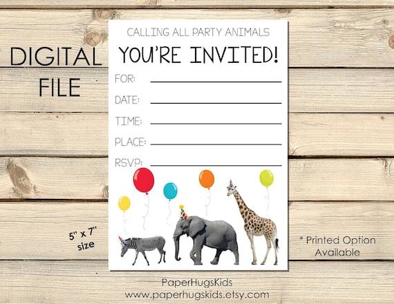CustomizablePrintable File 5x7 in. animal invitation | animals Animals Birthday Invite giraffe invitation zoo birthday invitation