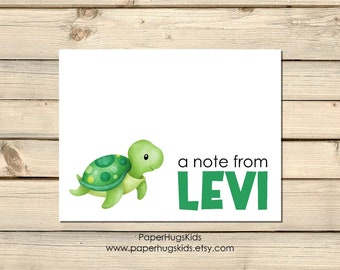 PRINTABLE Cute Green Sea Turtle Note Cards Stationery for kids, Watercolor Sea Turtle Thank You Cards, Turtle Stationary Set, Gift for kids
