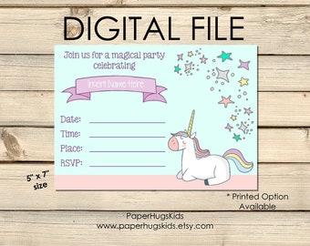 Unicorn Birthday Invitation Instant Download Fill in the Blank Birthday Party Invitation Girls Birthday Invitation Unicorn Party Invitations
