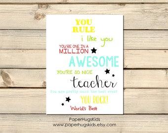 PRINTABLE Teacher Thank You Card - Thank You Teacher -End of Year Teacher card - Teacher Appreciation Card - Card for Teacher/Digital