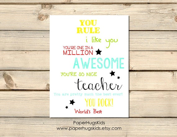 Printable Teacher Thank You Card Thank You Teacher End Of Etsy