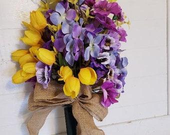 Cemetery flowers, Grave flowers, Artificial,Spring colors arrangements, Weather proof