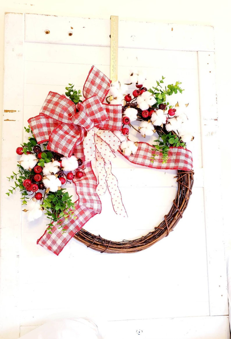 Country Style Cotton Wreath  Farmhouse Style Wreath  All image 0