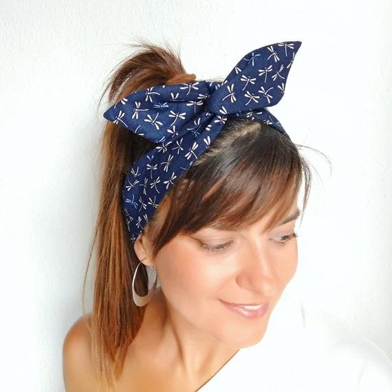 Navi blue headscarf Japanese wire headband twist headband  41aa31757a0