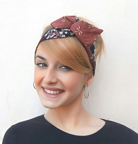 Pinup headband reversible headband floral Headscarfcherry  fd654bcb5b8