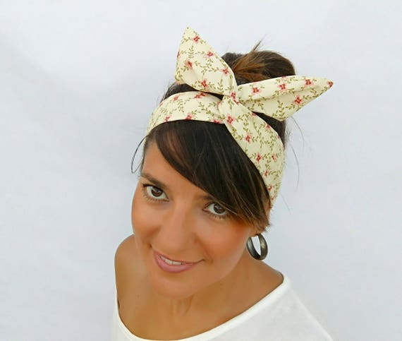 Floral wire headband vintage headband Floral vintage tie on  dd9a3a03fb4