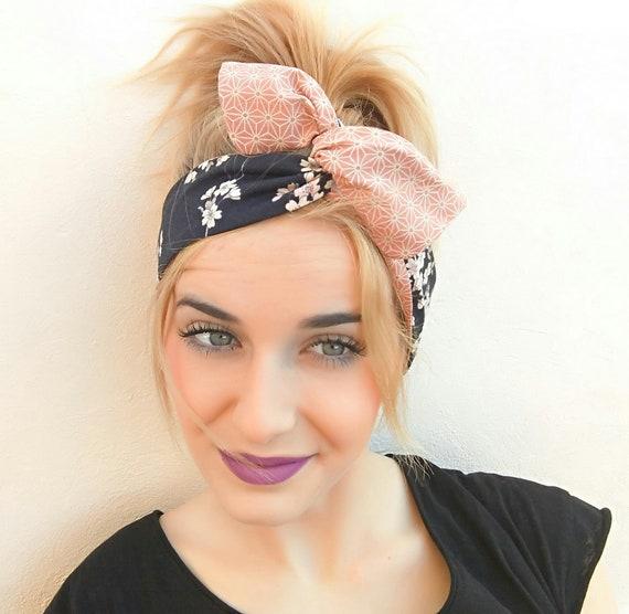 Flower Stripe Wire Headband Retro Band Wrap Hair Bendy Two Flowers