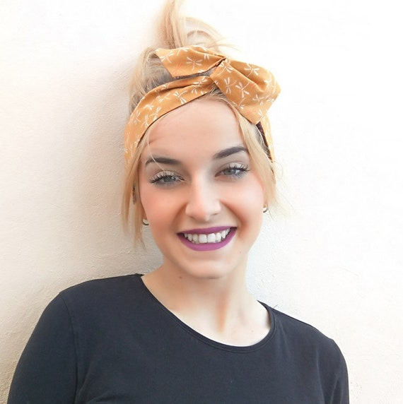 Mustard yellow Wire Headband Scarf Turban Wrap dragonfly  d15820501be