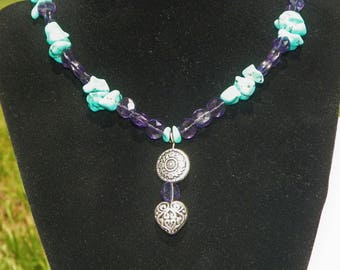"18"" Amethyst, Turquoise Necklace with silver toned accents"