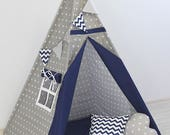 Teepee for kids, Teepee with pillows, Kids Teepee, Indian Teepee, Tipi kids, Childrens Teepee, Teepee tent, Tipi zelt, gray navy blue