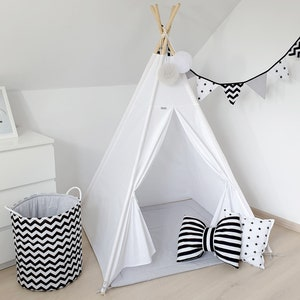 Christmas gift for kids perfect gift under 5 Mint Teepee with floor mat two pillows and cotton basket for toys