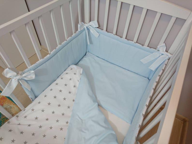 Berceau Double face tour de lit de bébé lit tour de lit bébé lit protecteur  lit tour de lit coton lit berceau bleu pare-chocs pare-chocs lit ...