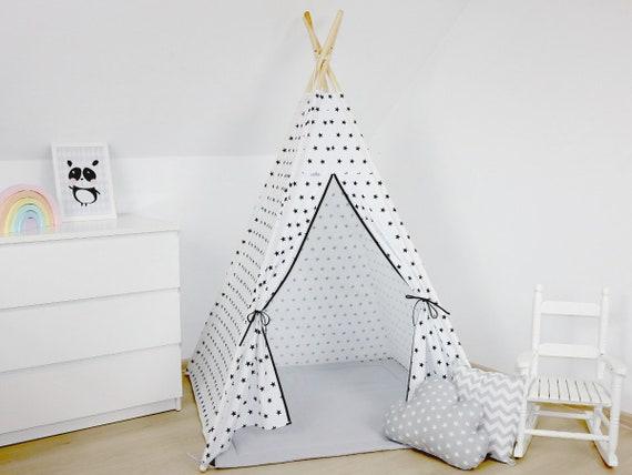 Weißes Tipi in Sternen, Kinderzelt, Tipi Kinder, Kinderzimmer Dekoration,  Spielhaus, Spiel Zelt, Kinder Zelt, Kinder Tipi, Kleinkind Tipi,