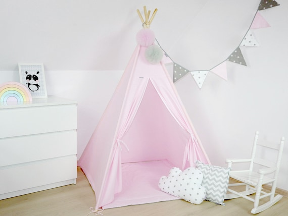 huge selection of 8f6d6 21878 Light Pink Teepee, Kids Teepee, Kids room decor, Pink Tipi, Nursery decor,  Kids tent, Kids furniture, Childrens teepee, Tipi with poles