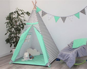 Teepee Set+ cushions/pillows,  Kids Teepee, Indian Teepee, Childrens Teepee, Teepee tent, Tipi zelt, wigwam with mat, Zigzag with mint
