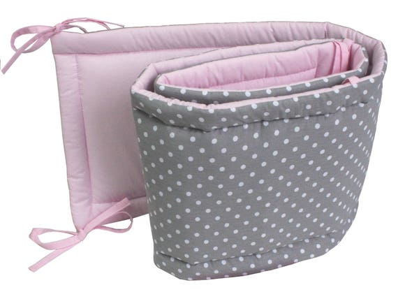 Baby Bed Beschermer.Cotton Crib Bumper Baby Bed Protector Cot Bumper Grey Crib Etsy