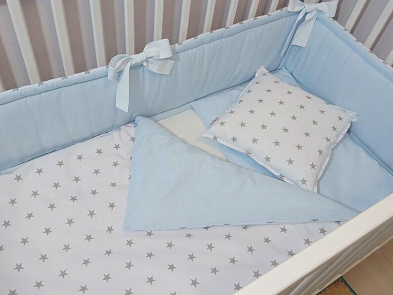 Nursery Bedding Set Duvet cover Crib bedding set Pillowcases for children/'s bed white blue stars -boy girl Bedding cover Set for baby