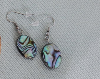 Stainless Steel earrings with oval NZ paua/abalone shell - Auckland series