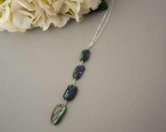 Sterling Silver Paua chain necklace  - Wellington series