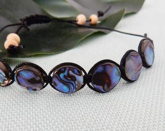 Macramé bracelet with paua/abalone round beads - Christchurch series