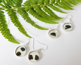 Sterling silver earrings with resin art with Jade stone - Taupo series