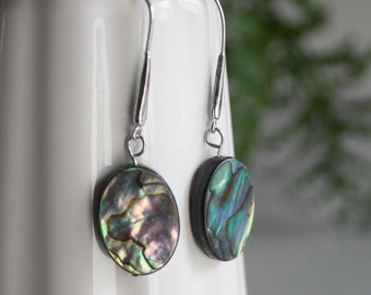 Sterling silver earrings with Oval paua/abalone shell - Wellington series