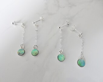 Sterling silver hanging earrings, 6mm round NZ paua/abalone shell - Wellington series