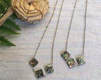 Stainless Steel necklace with NZ paua shell diamond necklace - Auckland series