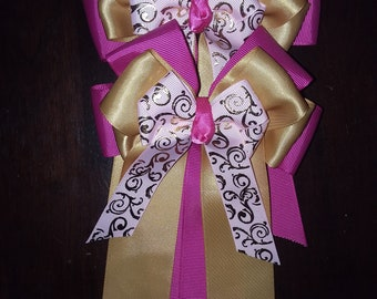Pink and Gold horse show bows